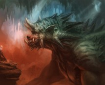 Green dragon creature illo