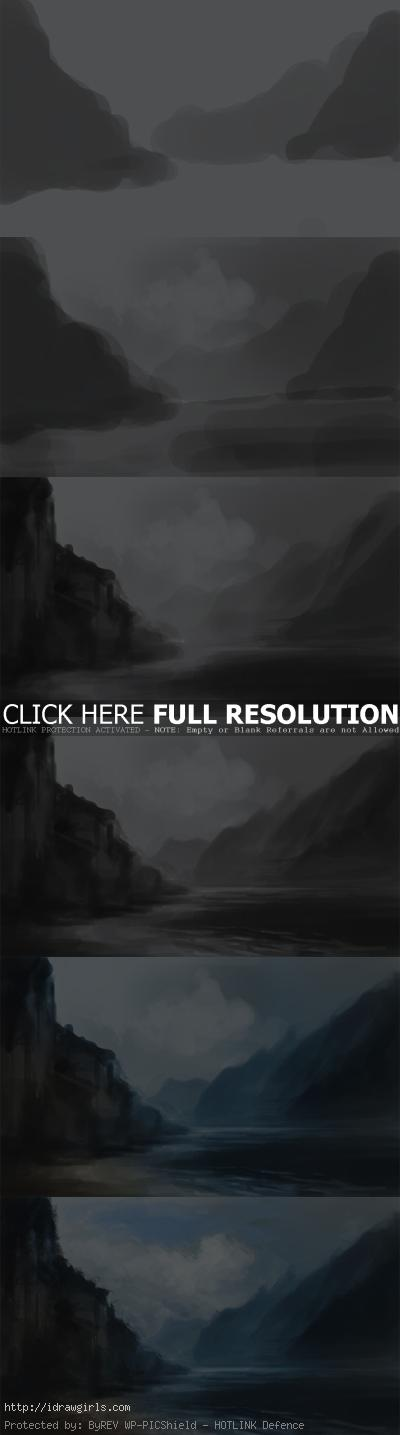 digital painting tutorial mountain water landscape environmental How to paint landscape mountain river
