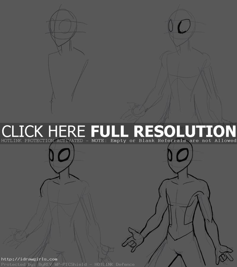 drawing SpiderMan step by step
