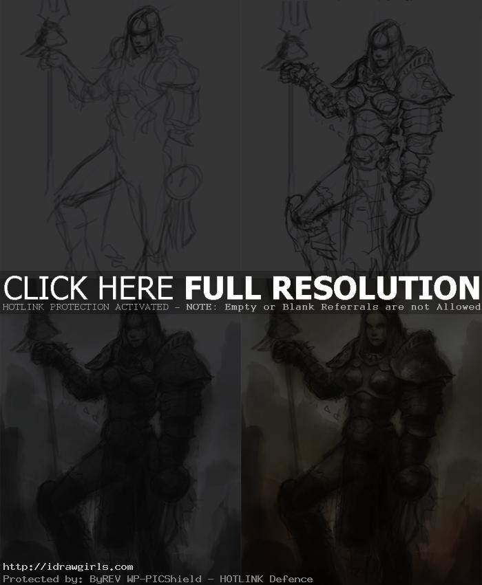 how to design character with armor How to paint character in steel armor