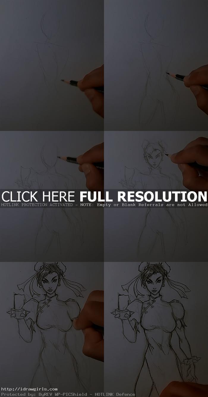 how to draw female body chun li How to draw Chun Li Street Fighter