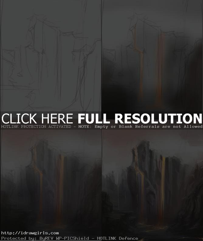painting environment tutorial magma Environmental concept art magma cliff