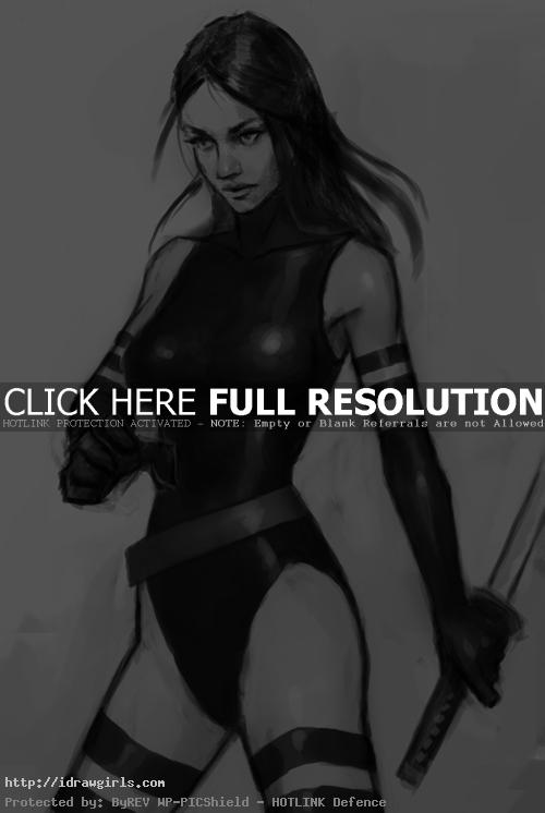 How to draw Psylocke