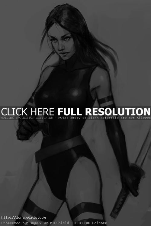 Psylocke drawing1 How to draw Psylocke