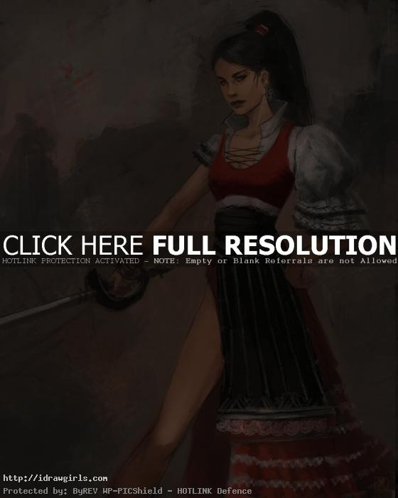 female musketeer character art