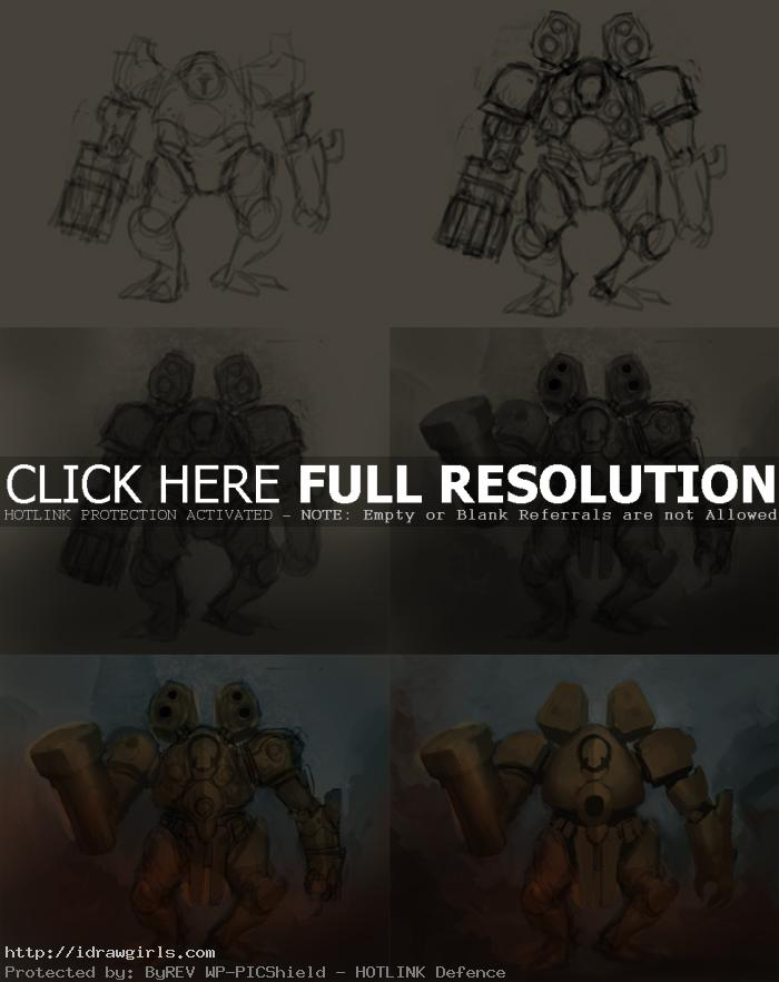 how to design mecha concept art How to draw and paint Mecha concept art
