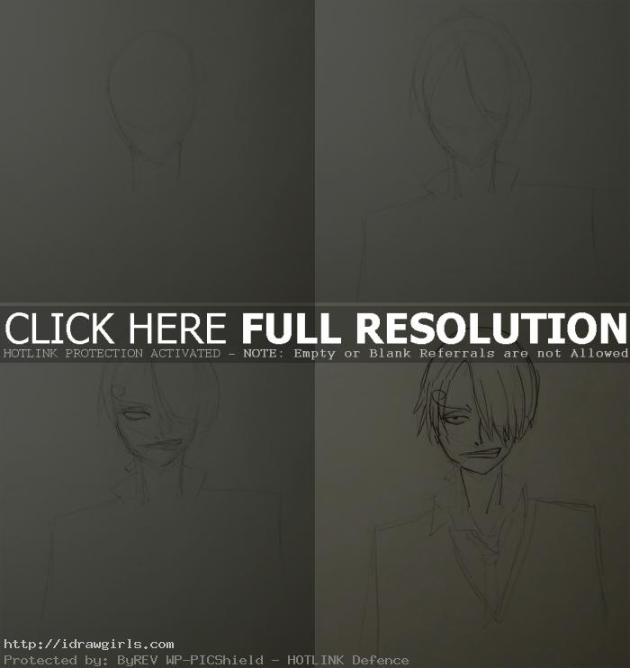 how to draw Sanji One Piece