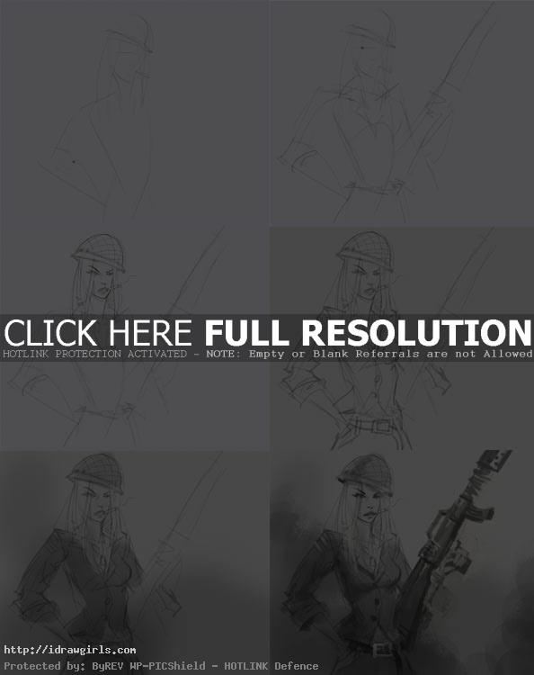 how to draw soldier woman