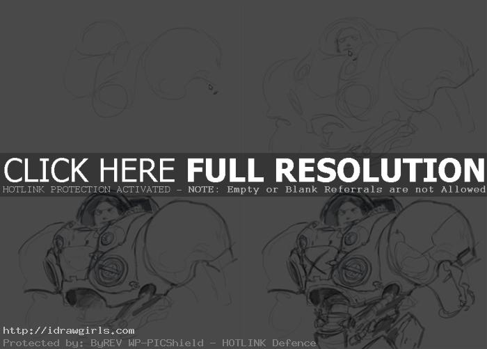 how to draw Starcraft marine