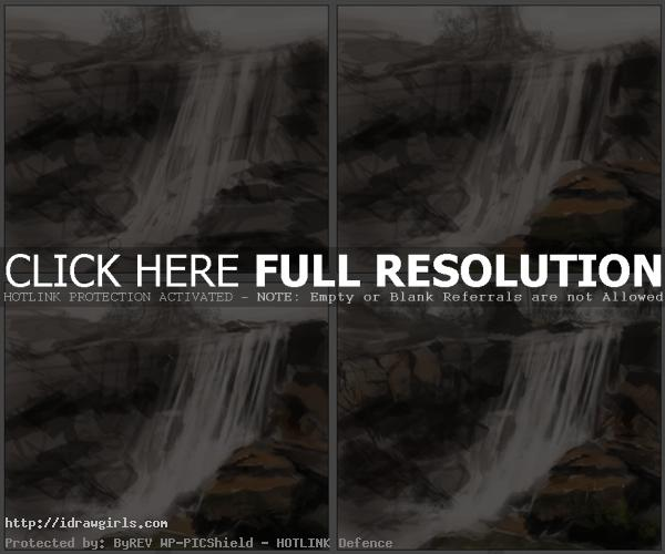how to paint waterfall
