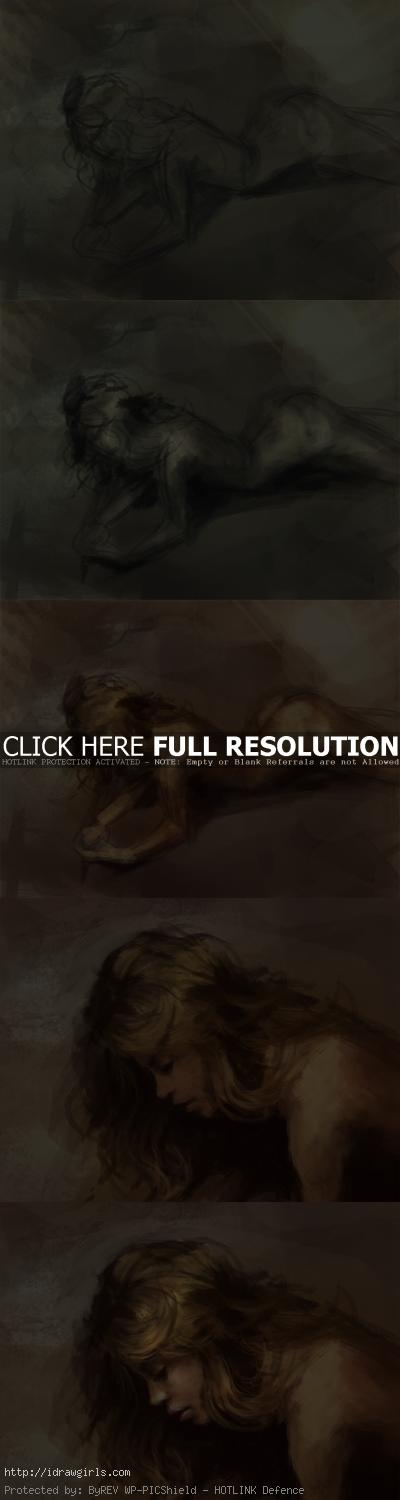 painting reclining female figure step by step