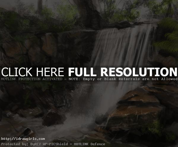 painting tutorial waterfall How to paint waterfall