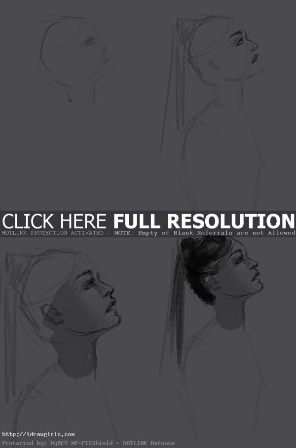 side view face people How to draw Elektra