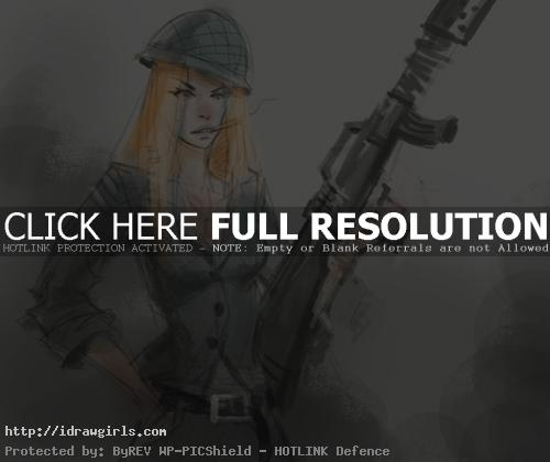 woman soldier How to draw woman soldier