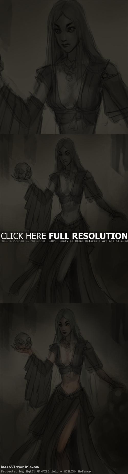 drawing tutorial warlock woman How to draw female warlock
