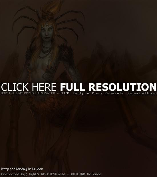 drider queen unfinished How to draw drider creature design