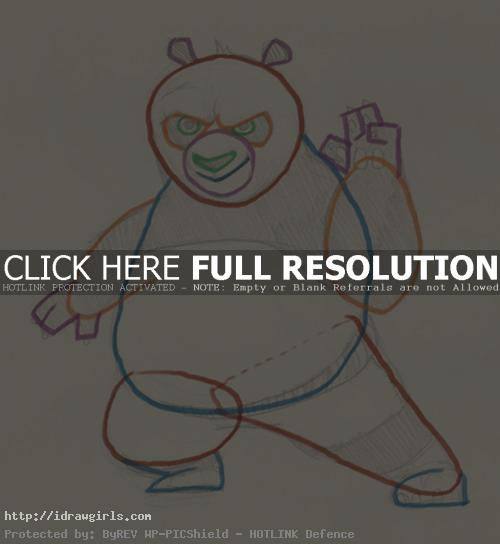 easy drawing Kung Fu Panda Po