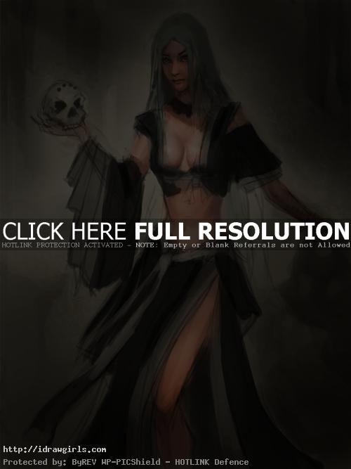 female warlock unfinished1 Painting skin and chest step by step