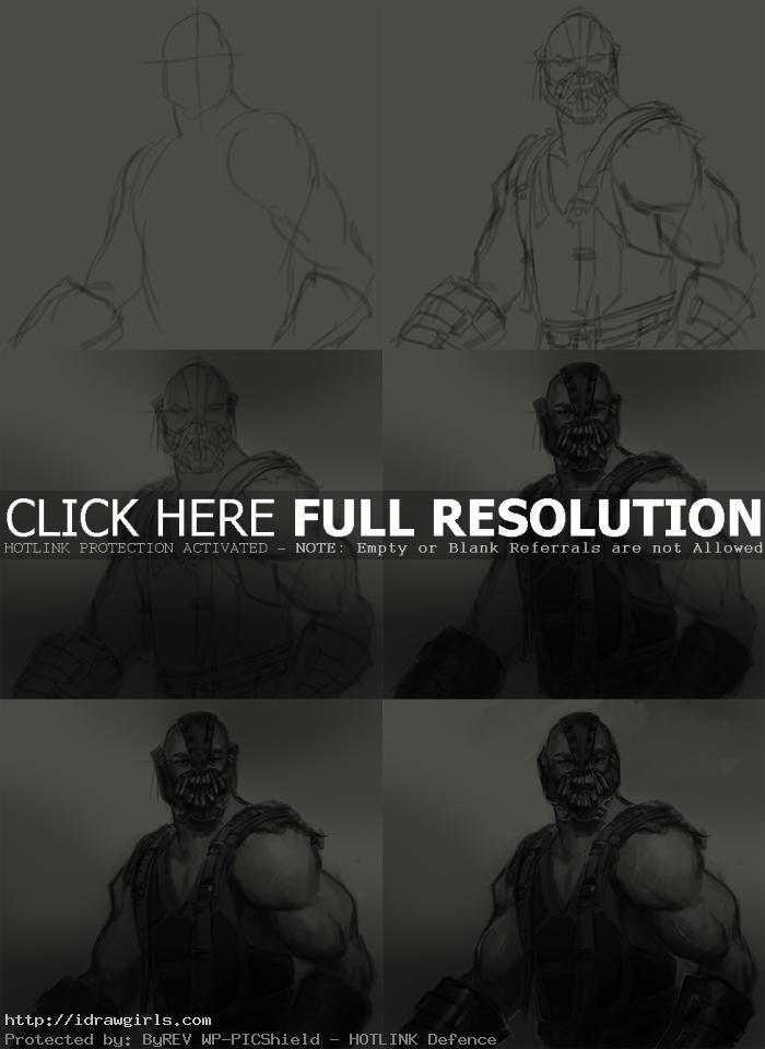 how to draw bane drak knight How to draw Bane