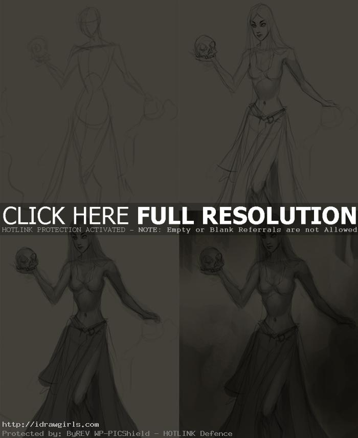 how to draw female figure warlock