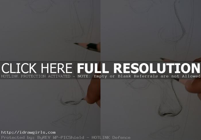 how to draw nose step by step How to draw nose side view.