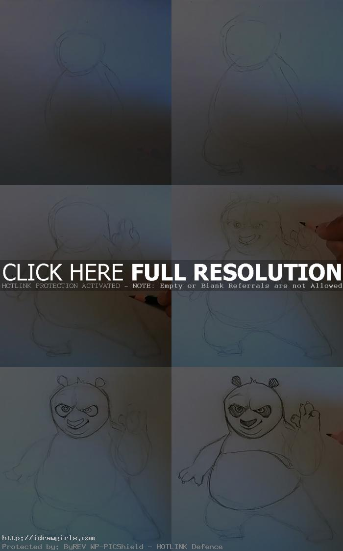 how to draw Po kung fu panda