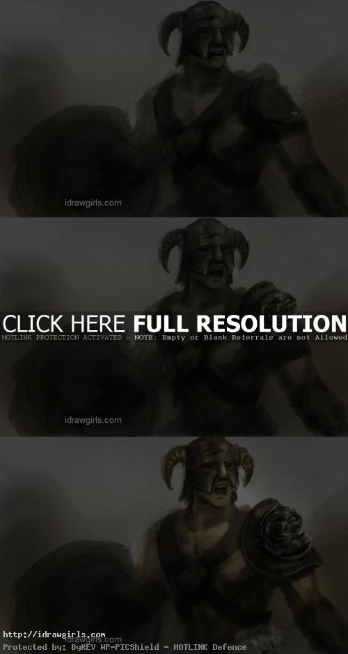 how to paint skyrim warrior Draw and paint Skyrim warrior