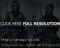 archers on horseback drawing