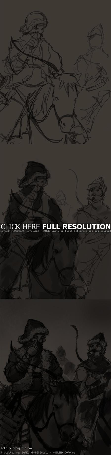 draw people on horseback