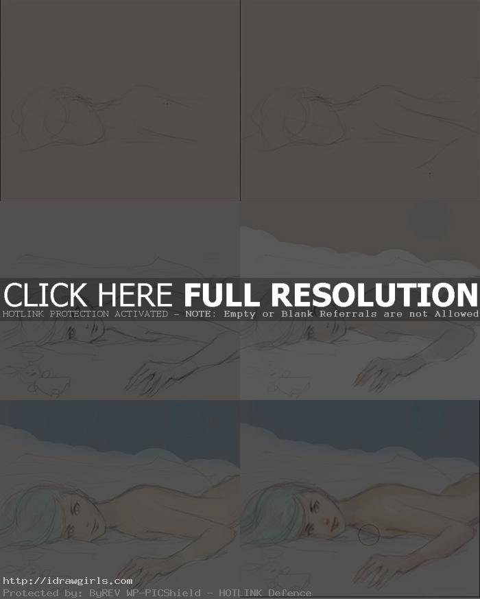 how to draw blue hair Anime girl