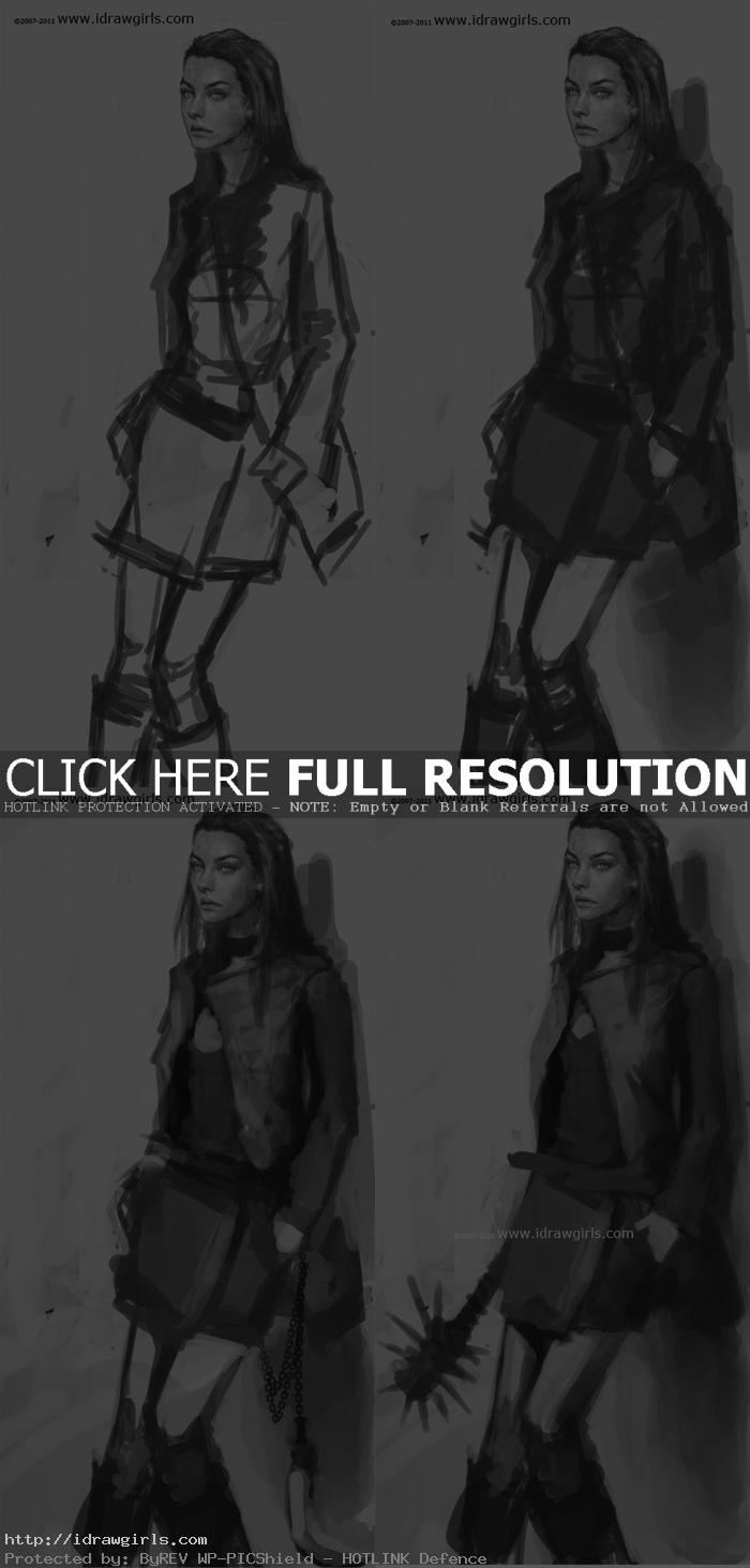 how to draw female character design How to draw female character design