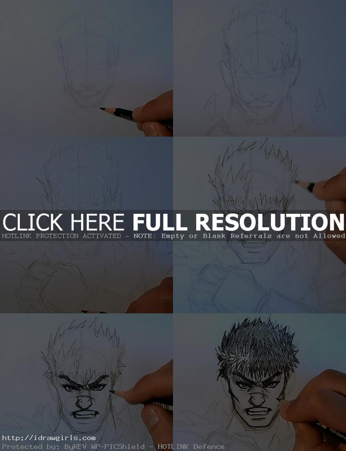 how to draw manga berserk How to draw Manga Guts from Berserk