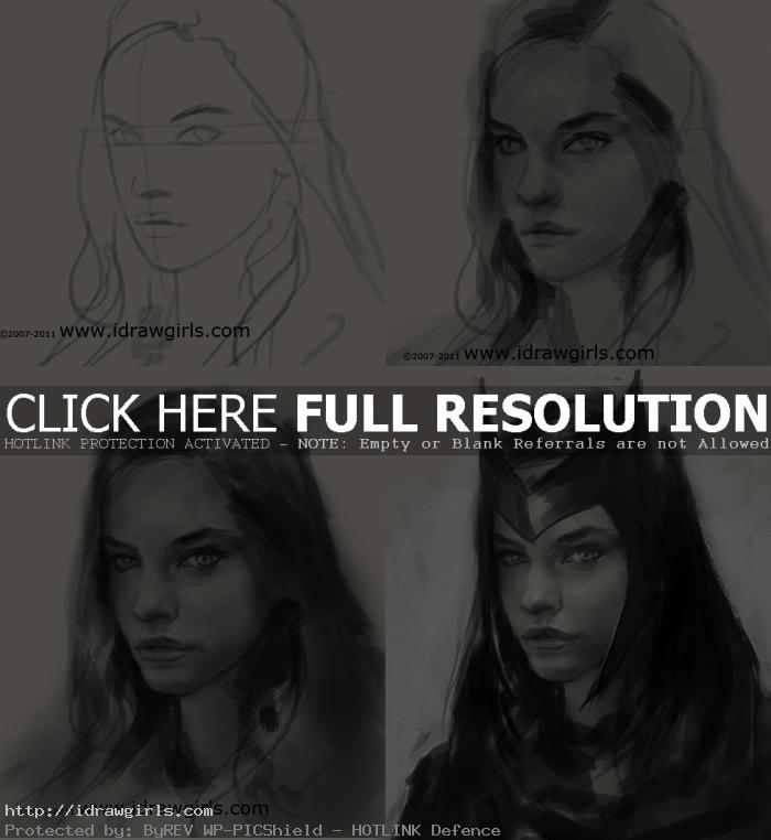 how to draw Scarlet Witch face