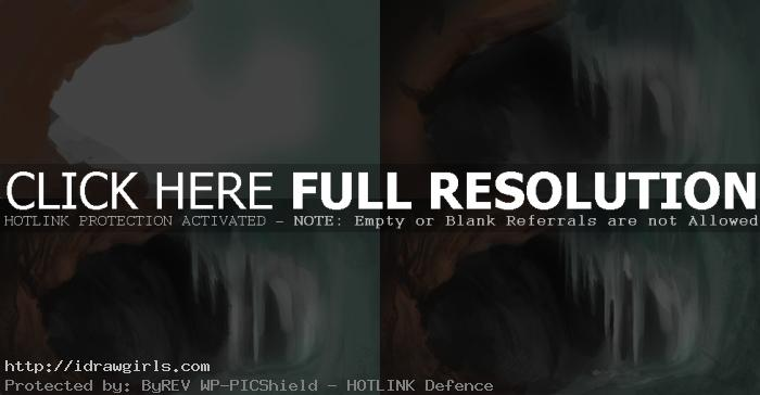 how to paint crystal cave Digital painting tutorial environmental concept crystal cave