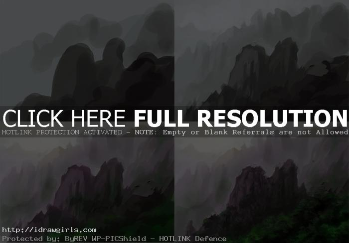how to paint sun over mountains landscape