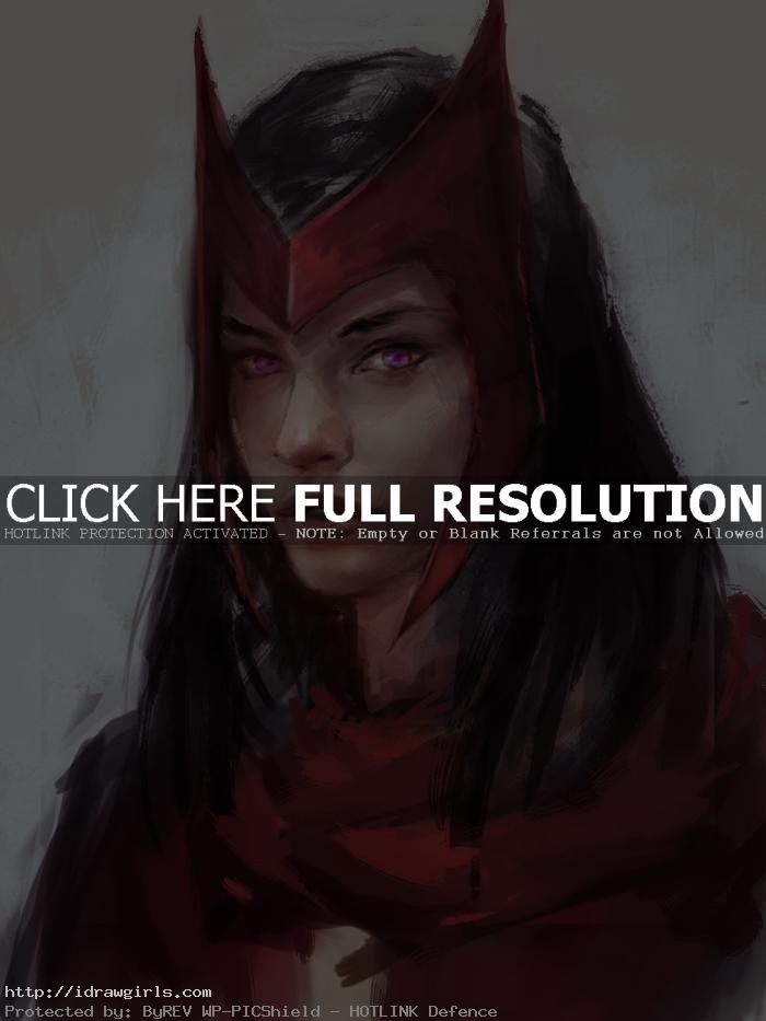 How to draw portrait Scarlet Witch