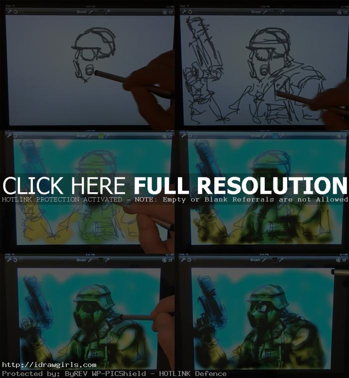drawing on ipad tutorial Draw and paint on ipad soldier