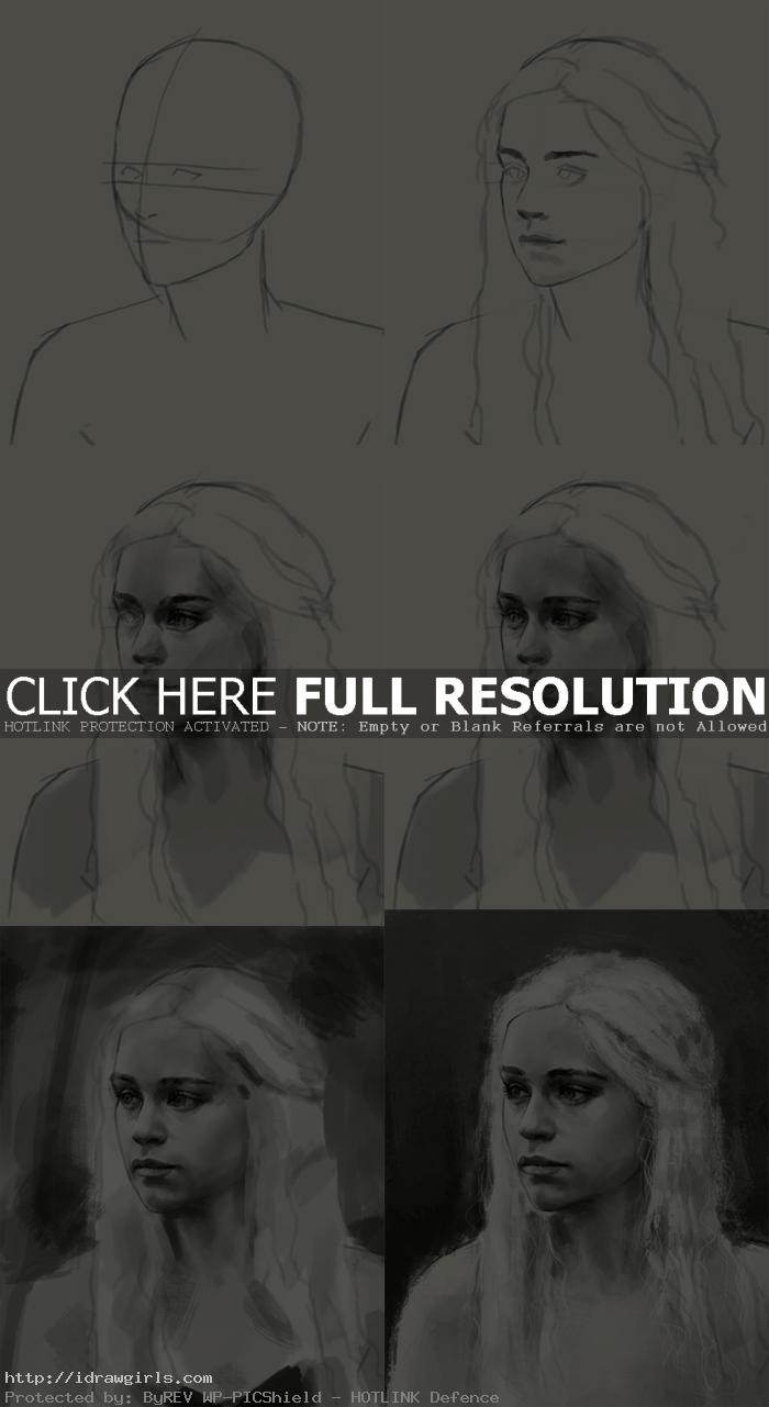 how to draw Daenerys Targaryen