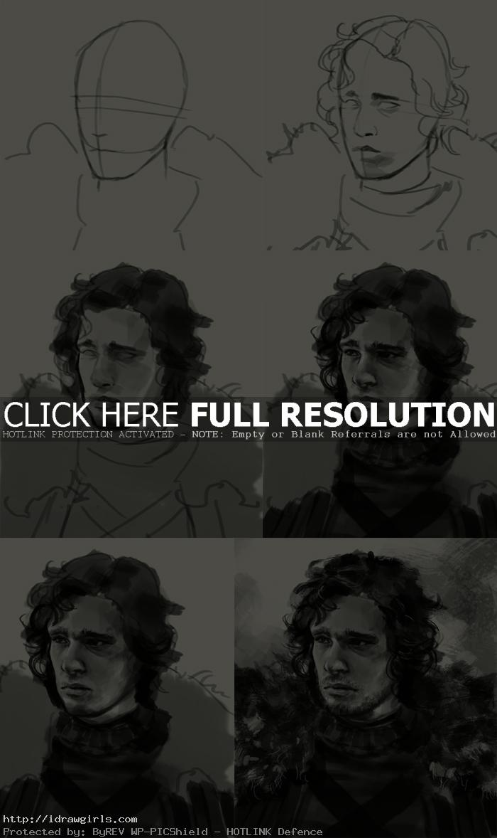 how to draw jon snow game of thrones How to draw Jon Snow portrait