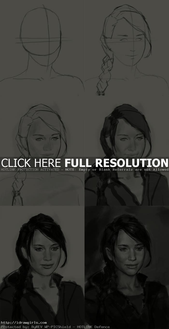 How to draw Katniss Everdeen from Hunger Games