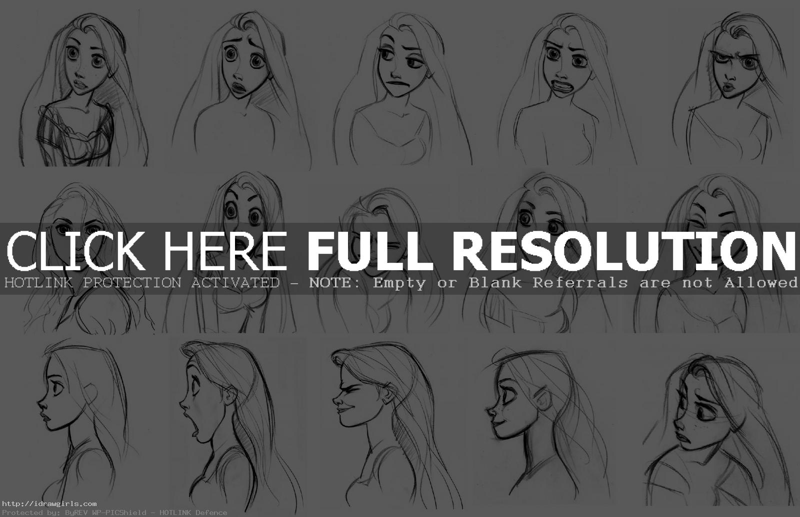 Rapunzel Disney face expression drawing