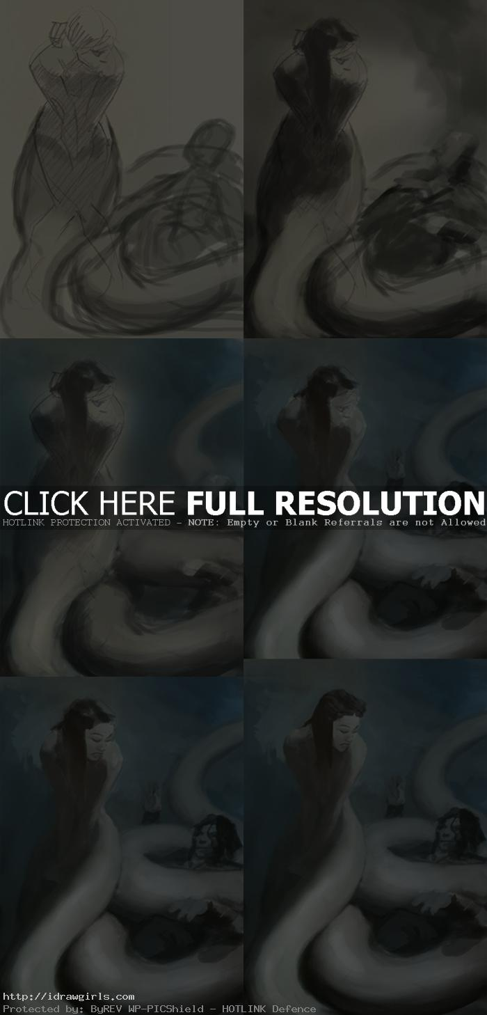Digital painting tutorial wuxia white snake 白蛇傳說