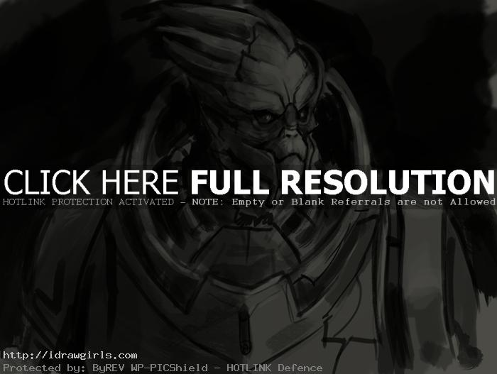 How to draw Garrus Vakarian