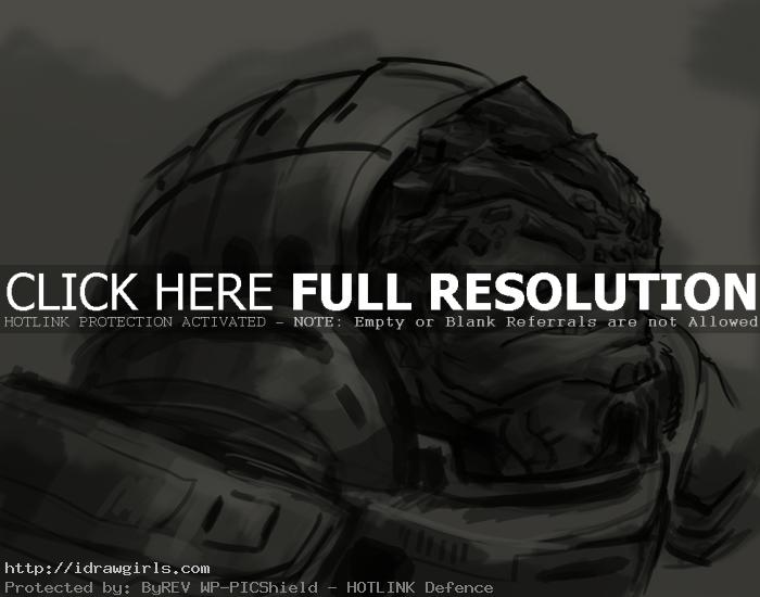 How to draw Grunt Mass Effect