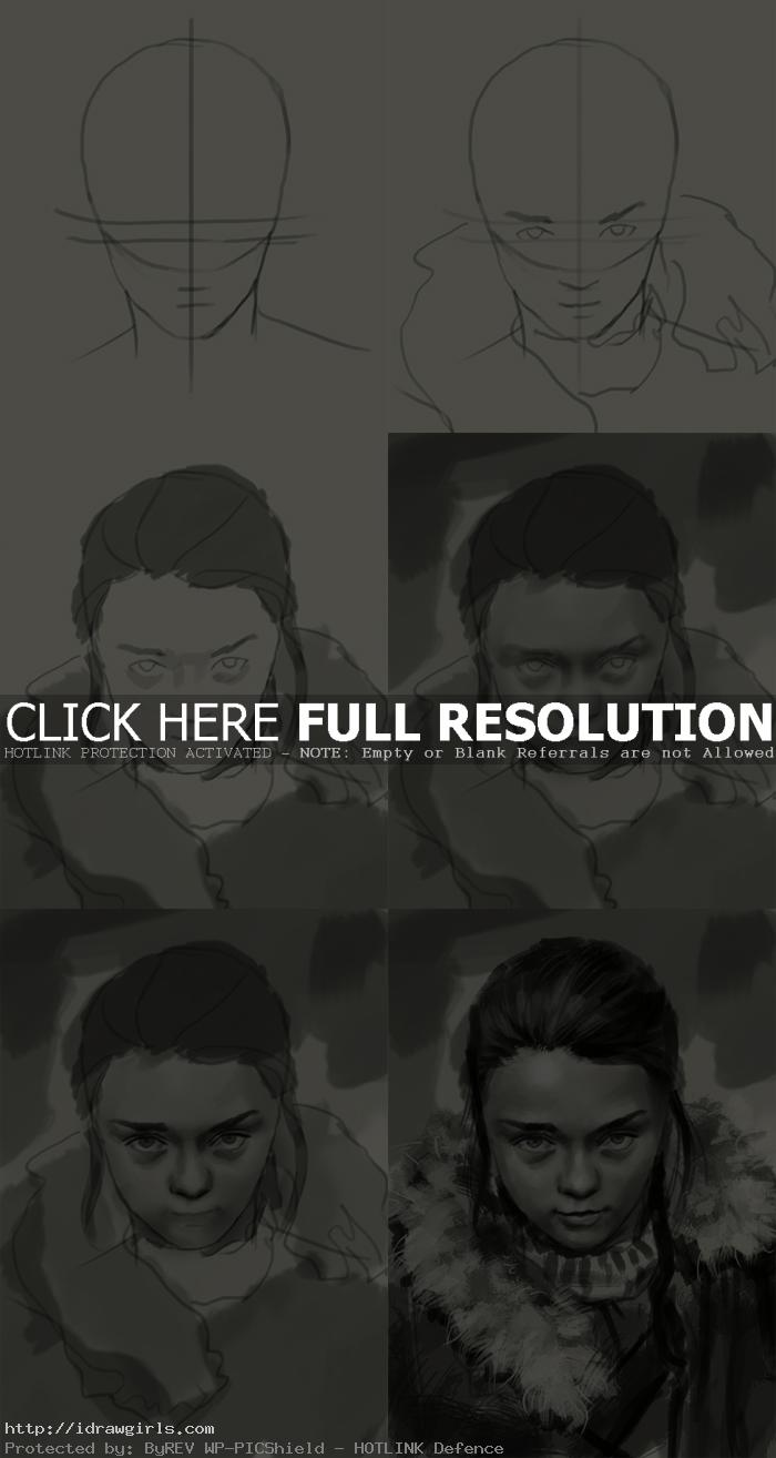 how to draw Arya Stark  Game of Thrones