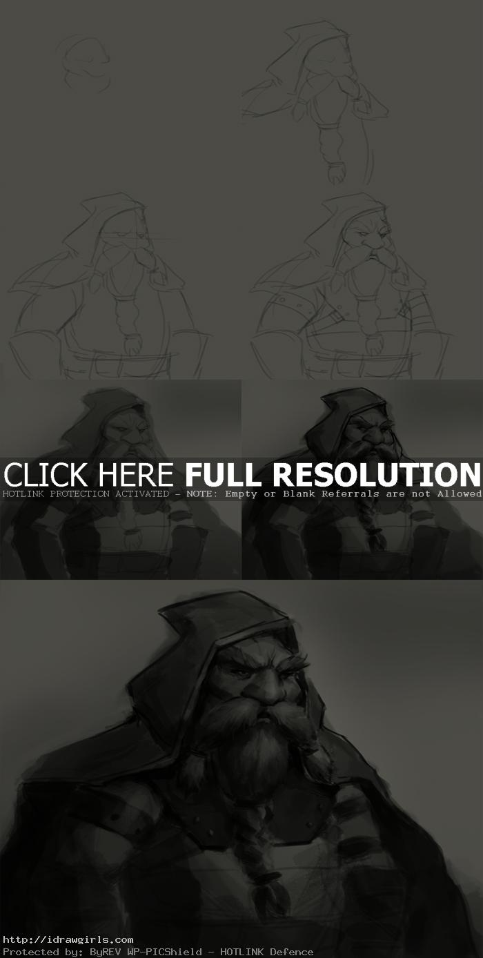 how to draw dwarf hunter How to draw Dwarf