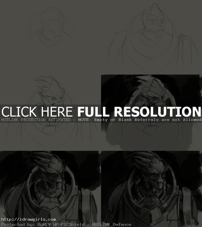 how to draw garrus vakarian How to draw Garrus Vakarian