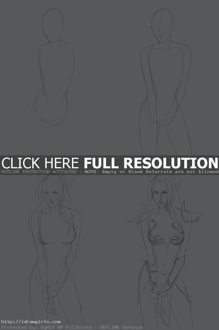 How to draw Night Elf step 1