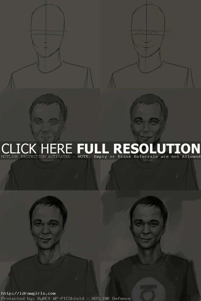 how to draw sheldon cooper How to draw Sheldon Cooper