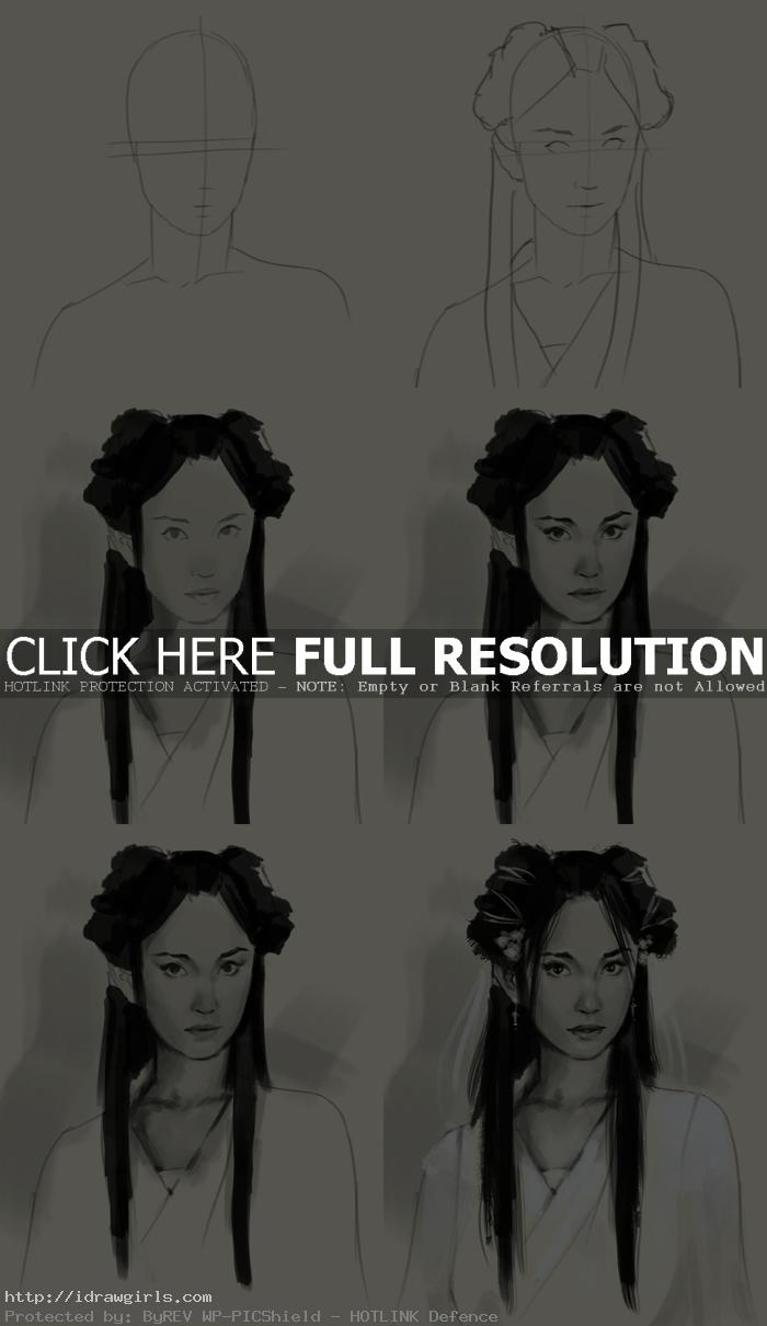 How to draw Xiaolongnu 小龍女